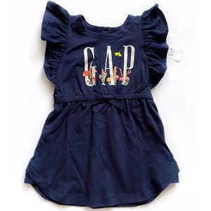 NWT Gap Logo Flutter Sleeved Dress 12-18 Months